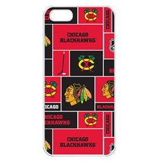 Chicago Blackhawks Nhl Block Fleece Fabric Apple Iphone 5 Seamless Case (white) by Onesevenart