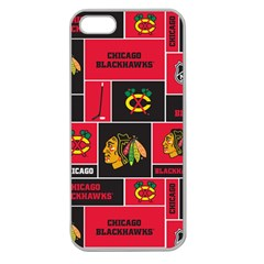 Chicago Blackhawks Nhl Block Fleece Fabric Apple Seamless Iphone 5 Case (clear) by Onesevenart