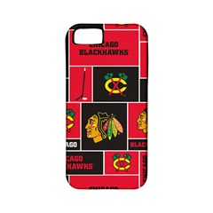 Chicago Blackhawks Nhl Block Fleece Fabric Apple Iphone 5 Classic Hardshell Case (pc+silicone) by Onesevenart