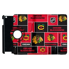 Chicago Blackhawks Nhl Block Fleece Fabric Apple Ipad 2 Flip 360 Case by Onesevenart