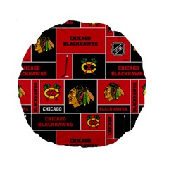 Chicago Blackhawks Nhl Block Fleece Fabric Standard 15  Premium Round Cushions by Onesevenart