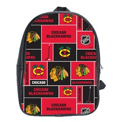 Chicago Blackhawks Nhl Block Fleece Fabric School Bags (xl)  by Onesevenart