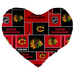 Chicago Blackhawks Nhl Block Fleece Fabric Large 19  Premium Heart Shape Cushions by Onesevenart
