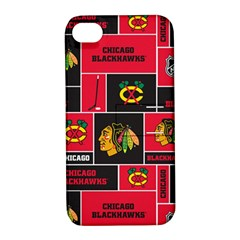 Chicago Blackhawks Nhl Block Fleece Fabric Apple Iphone 4/4s Hardshell Case With Stand by Onesevenart