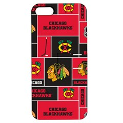 Chicago Blackhawks Nhl Block Fleece Fabric Apple Iphone 5 Hardshell Case With Stand by Onesevenart