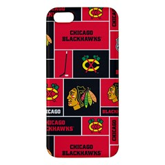 Chicago Blackhawks Nhl Block Fleece Fabric Apple Iphone 5 Premium Hardshell Case by Onesevenart
