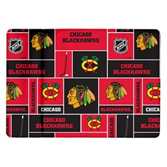 Chicago Blackhawks Nhl Block Fleece Fabric Samsung Galaxy Tab 10 1  P7500 Flip Case by Onesevenart