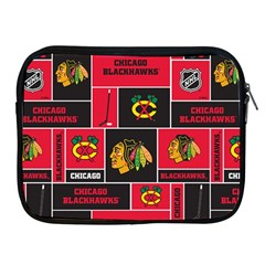Chicago Blackhawks Nhl Block Fleece Fabric Apple Ipad 2/3/4 Zipper Cases by Onesevenart