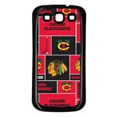 Chicago Blackhawks Nhl Block Fleece Fabric Samsung Galaxy S3 Back Case (black) by Onesevenart
