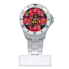 Chicago Blackhawks Nhl Block Fleece Fabric Plastic Nurses Watch by Onesevenart