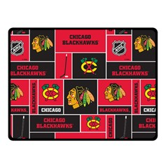 Chicago Blackhawks Nhl Block Fleece Fabric Double Sided Fleece Blanket (small)  by Onesevenart