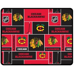 Chicago Blackhawks Nhl Block Fleece Fabric Double Sided Fleece Blanket (medium)  by Onesevenart