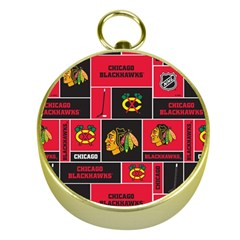 Chicago Blackhawks Nhl Block Fleece Fabric Gold Compasses by Onesevenart