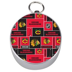 Chicago Blackhawks Nhl Block Fleece Fabric Silver Compasses by Onesevenart