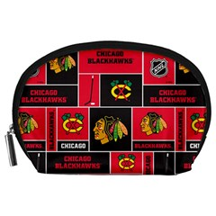Chicago Blackhawks Nhl Block Fleece Fabric Accessory Pouches (large)  by Onesevenart