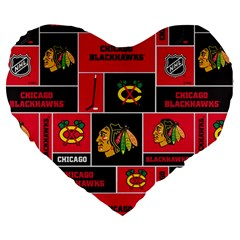 Chicago Blackhawks Nhl Block Fleece Fabric Large 19  Premium Flano Heart Shape Cushions by Onesevenart