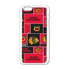 Chicago Blackhawks Nhl Block Fleece Fabric Apple Iphone 6/6s White Enamel Case by Onesevenart