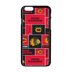 Chicago Blackhawks Nhl Block Fleece Fabric Apple Iphone 6/6s Black Enamel Case by Onesevenart