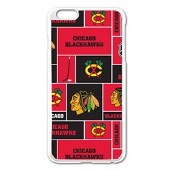 Chicago Blackhawks Nhl Block Fleece Fabric Apple Iphone 6 Plus/6s Plus Enamel White Case by Onesevenart
