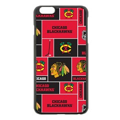 Chicago Blackhawks Nhl Block Fleece Fabric Apple Iphone 6 Plus/6s Plus Black Enamel Case by Onesevenart