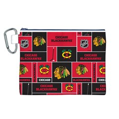 Chicago Blackhawks Nhl Block Fleece Fabric Canvas Cosmetic Bag (l) by Onesevenart