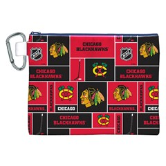 Chicago Blackhawks Nhl Block Fleece Fabric Canvas Cosmetic Bag (xxl) by Onesevenart