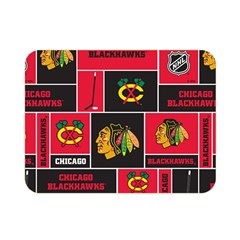 Chicago Blackhawks Nhl Block Fleece Fabric Double Sided Flano Blanket (mini)  by Onesevenart
