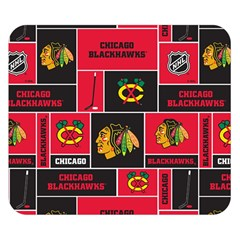 Chicago Blackhawks Nhl Block Fleece Fabric Double Sided Flano Blanket (small)  by Onesevenart