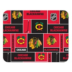 Chicago Blackhawks Nhl Block Fleece Fabric Double Sided Flano Blanket (large)  by Onesevenart