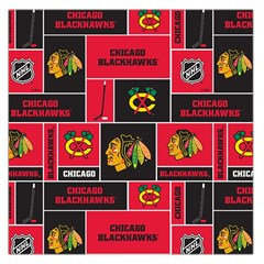 Chicago Blackhawks Nhl Block Fleece Fabric Large Satin Scarf (square) by Onesevenart