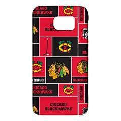 Chicago Blackhawks Nhl Block Fleece Fabric Galaxy S6 by Onesevenart