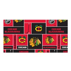 Chicago Blackhawks Nhl Block Fleece Fabric Satin Shawl by Onesevenart