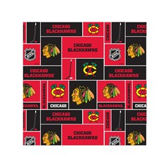 Chicago Blackhawks Nhl Block Fleece Fabric Small Satin Scarf (square) by Onesevenart