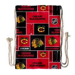 Chicago Blackhawks Nhl Block Fleece Fabric Drawstring Bag (large) by Onesevenart