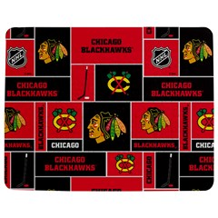 Chicago Blackhawks Nhl Block Fleece Fabric Jigsaw Puzzle Photo Stand (rectangular) by Onesevenart