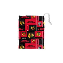Chicago Blackhawks Nhl Block Fleece Fabric Drawstring Pouches (xs)  by Onesevenart
