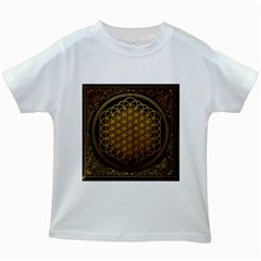 Bring Me The Horizon Cover Album Gold Kids White T Shirts by Onesevenart