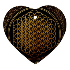 Bring Me The Horizon Cover Album Gold Heart Ornament (2 Sides) by Onesevenart