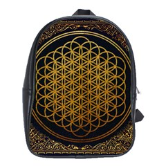 Bring Me The Horizon Cover Album Gold School Bags(large)  by Onesevenart
