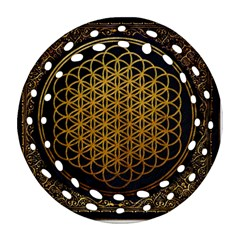 Bring Me The Horizon Cover Album Gold Ornament (round Filigree)  by Onesevenart