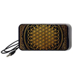 Bring Me The Horizon Cover Album Gold Portable Speaker (black)  by Onesevenart