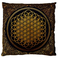 Bring Me The Horizon Cover Album Gold Large Flano Cushion Case (one Side) by Onesevenart