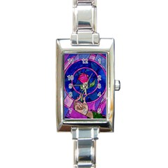 Enchanted Rose Stained Glass Rectangle Italian Charm Watch by Onesevenart