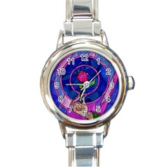 Enchanted Rose Stained Glass Round Italian Charm Watch by Onesevenart