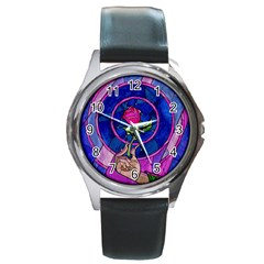 Enchanted Rose Stained Glass Round Metal Watch by Onesevenart