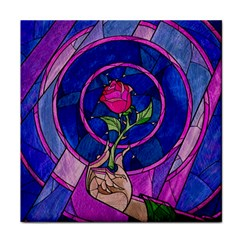 Enchanted Rose Stained Glass Tile Coasters by Onesevenart