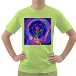 Enchanted Rose Stained Glass Green T-Shirt