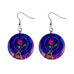 Enchanted Rose Stained Glass Mini Button Earrings by Onesevenart