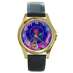 Enchanted Rose Stained Glass Round Gold Metal Watch by Onesevenart