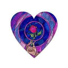 Enchanted Rose Stained Glass Heart Magnet by Onesevenart